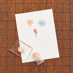 Photo2: JIZAI Clear Stamp  Picture Coloring set Flower