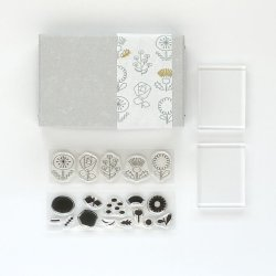 Photo1: JIZAI Clear Stamp  Picture Coloring set Flower